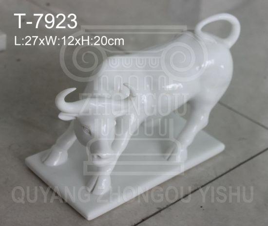 Animal Sculpture, Marble Stone Bull Statue Sculpture, Home Decoration