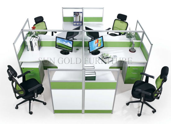 latest Office Cross Partition Modern Round 4 Seater Workstation (SZ-WS026C) pictures & photos
