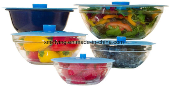 Heat Resistant Set of 5 PCS Silicone Suction Lids for Pan, Bowl, Container, Pot pictures & photos