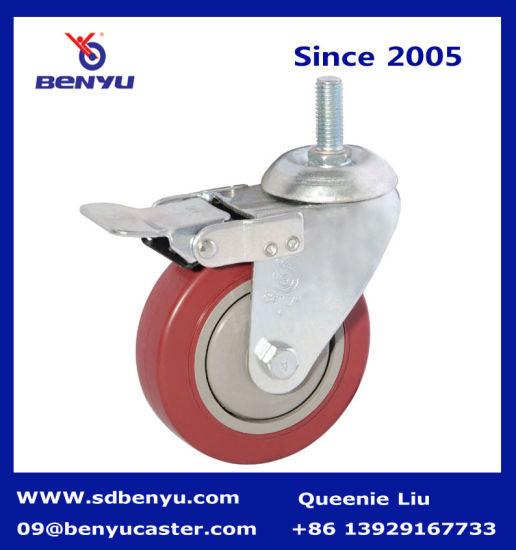 2.5-5 Inch Purplish Red PVC Wheel with Total Brake