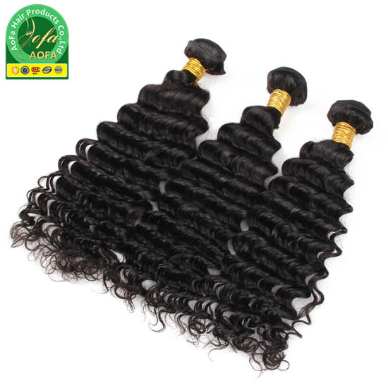 Top Quality Deep Curly Virgin Indian Human Natural Hair Weft pictures & photos