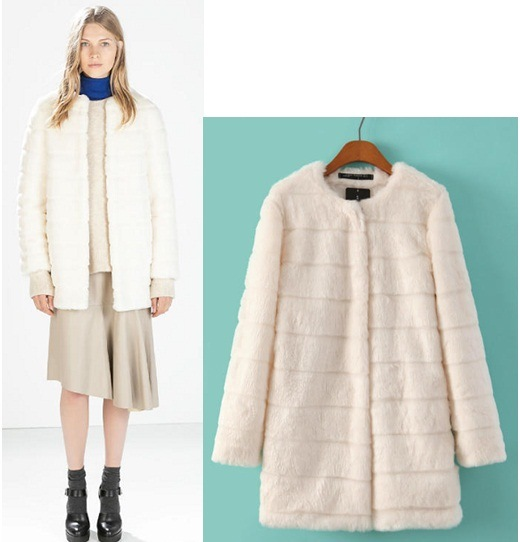 OEM High Quality Chic Women Layered Outfit Winter Beige Faux Fur Coat / Jacket pictures & photos