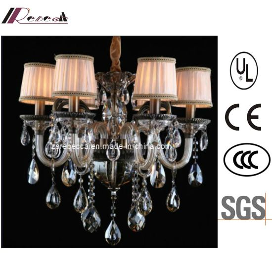 Hotel Decorative Zinc Alloy Crystal Chandelier with Fabric Shade