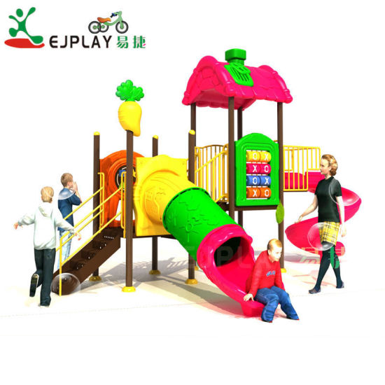 Newest Coco House Theme Plastic Equipment Children Outdoor Playground with Tunnel Slide