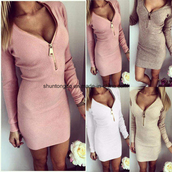 Vestidos Knitting Women Dresses Zipper O-Neck Sexy Knitted Dress Long Sleeve Bodycon Sheath Pack Hip Dress