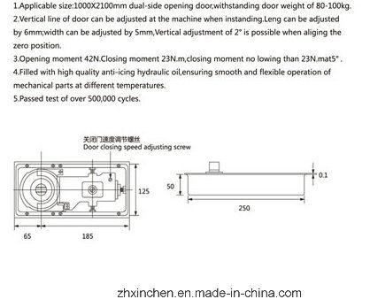 China Xc D3100 Window Hardware Glass Door Floor Spring China Floor
