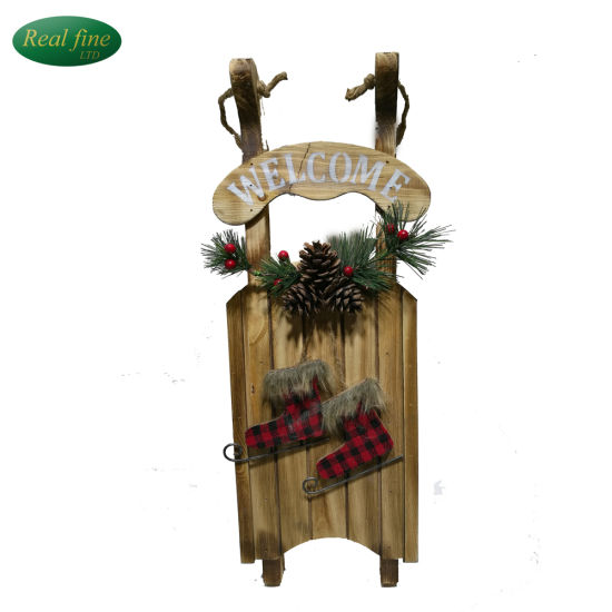 factory price wood christmas sled pine cone holiday decoration or gift