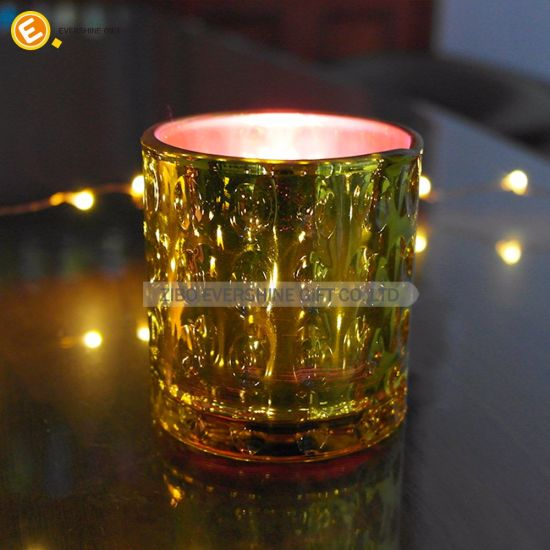 Wholesale Electroplating Anaglyph Colorful Glass Candlestick pictures & photos