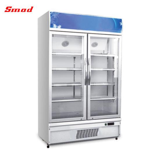 Transparent Glass Door Refrigerator Supermarket Upright Beverage Display  Cooler