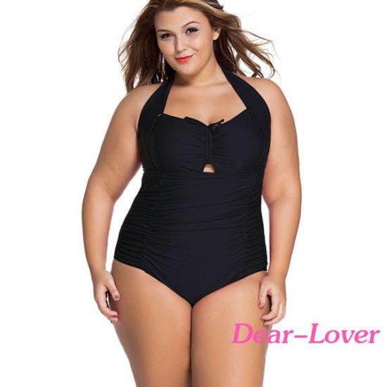 b589f61f07 China Solid Black Plus Size Non-Underwire Monokini - China Bikini ...