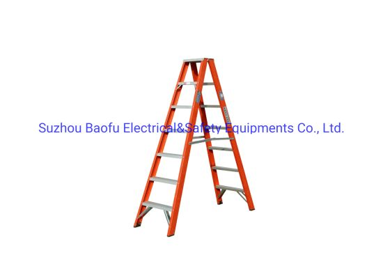 GS 35kv Red Fiberglas Step Ladders for Electric Works