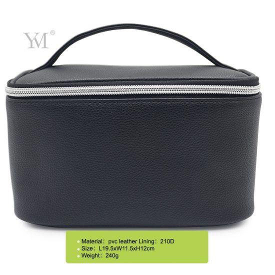 2020 Black Leather Makeup Bag Luxury Handle Leather Cosmetic Bag Women with Waterproof Lining