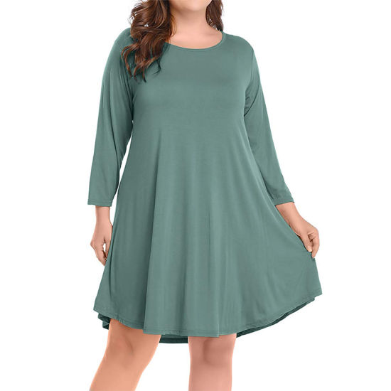 Women Comfortable Dating Elastic 3/4 Sleeve Casual Dress
