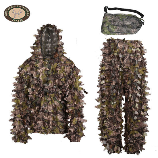 Ghillie Suit with Jacket, Pants, Hood, Rifle Wrap, Carry Bag for Unisex Adults