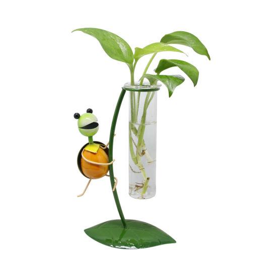 Desktop Decoratio Hydroponic Metal Tortoise Glass Flower Planter Pot
