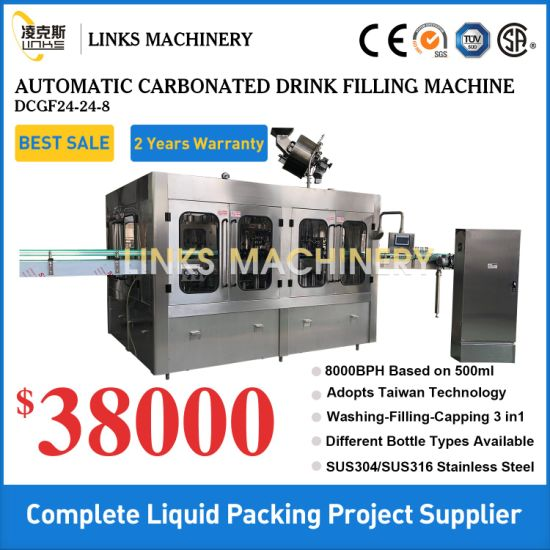 Automatic Fizzy Carbonated Drink Sparkling Water Beer Filling Bottling Sealing Labeling Wrapping Machine Line Packaging Machine