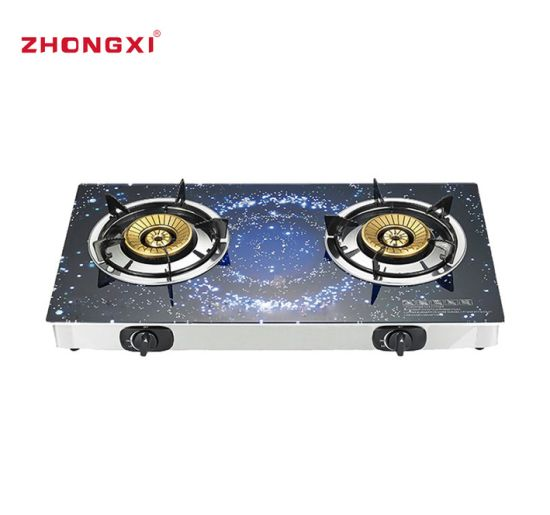 Top Cover Tempered Table Two Tempered Glass Gas Stove[Jz-RS255]