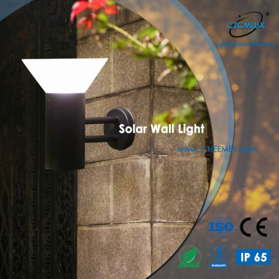 Aluminum Outdoor LED Solar Wall Light with Lithium Battery