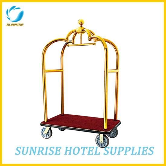 cef05c7749da Hotel Lobby Luxury Baggage Trolley with Silver Chrome Finish
