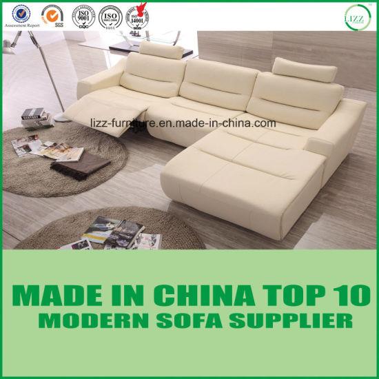 Hot Sale Ice Cream Color Italian Leather Recliner Sofa