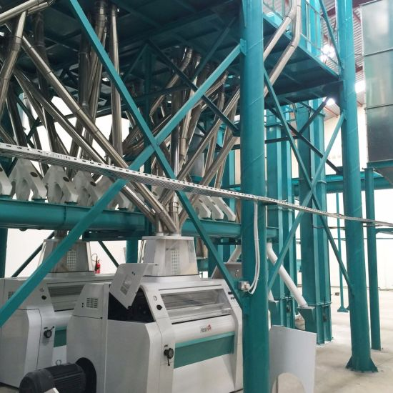 100t/24h Maize Milling Machine Running in Africa Making Super White Maize Flour Maize Grits pictures & photos