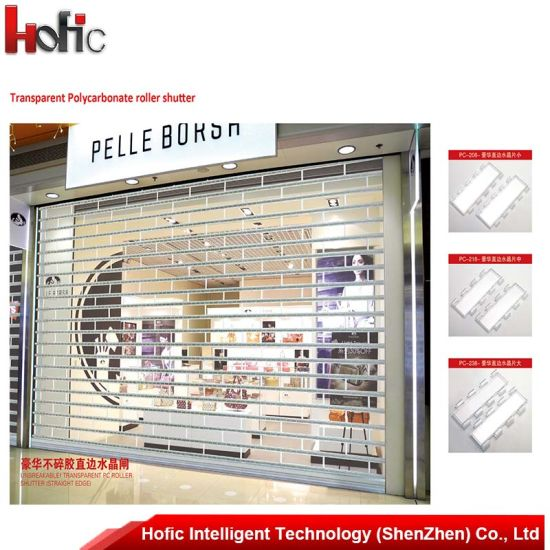 China Automatic Glass Roller Shutter Door Interior Roll Up China