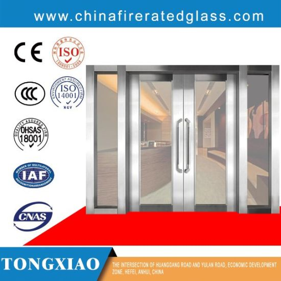 Stainless/Galvanized Steel Frame Fire Resistant High Transmittance Glass Doors pictures & photos