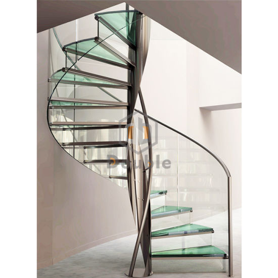 Spiral Staircase For House Glass Step With S. S Beam