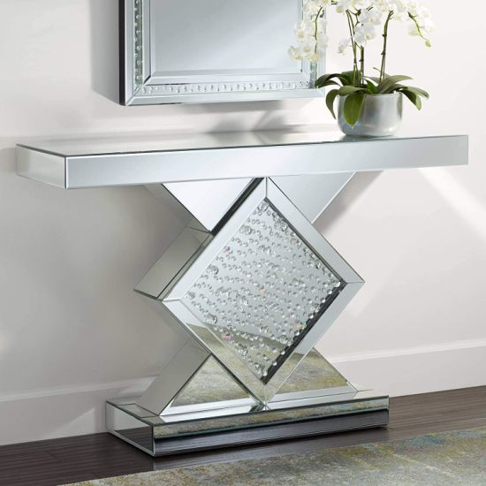 Crystal Console Table Crushed Diamond Furniture for Living Room