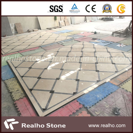 Nature Stone Brown/Grey/Black Color Waterjet Cutting Pattern Marble for  Home Depot Flooring Tile