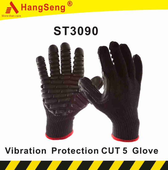 TPR Vibration Protection Cut Resistant Safety Work Glove for Industrial Purpose Use