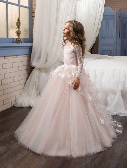 Long-Sleeved Girl Dress Dress Puff Princess Dress Three-Dimensional Butterfly