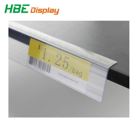 Transparent PVC Shelf Price Tag Holder with Sticker