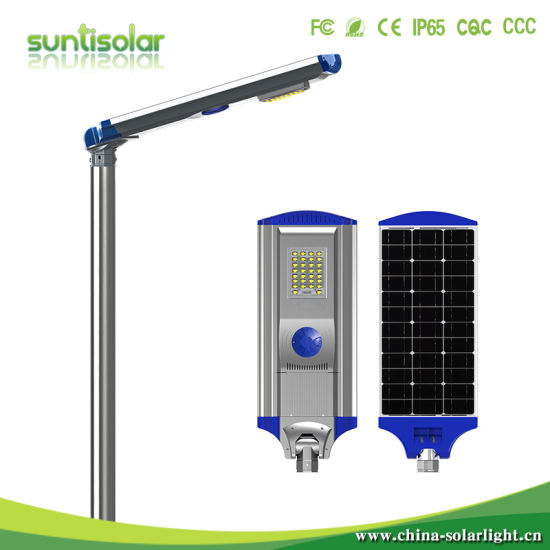Smart Outdoor LED Light 30W Integrated Solar Street Light with Replaceable Battery