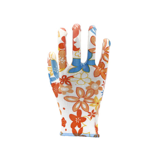Garden Gloves with Pink Flower Design and Lightweight PU Coating