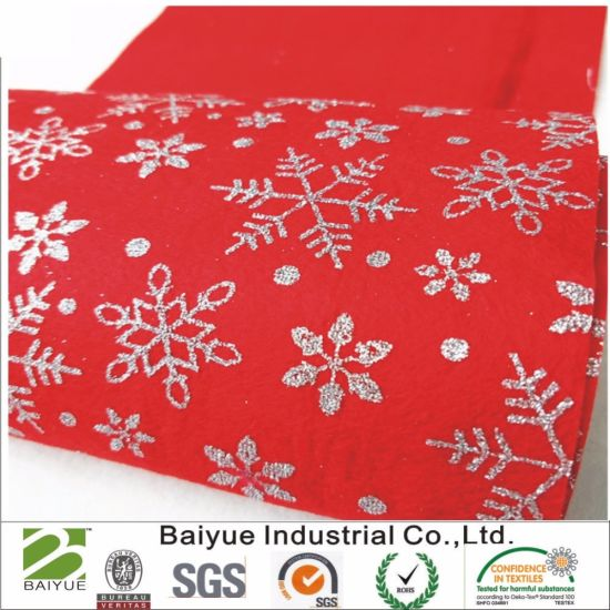 Sparkle Glitter Snowflakes Christmas Print Felt for Sewing Patchwork