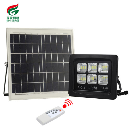 New Design Outdoor Waterproof Home Parking Lot Safe Remote Control Dimmable 60W 120W 24 Voltage Solar LED Flood Light