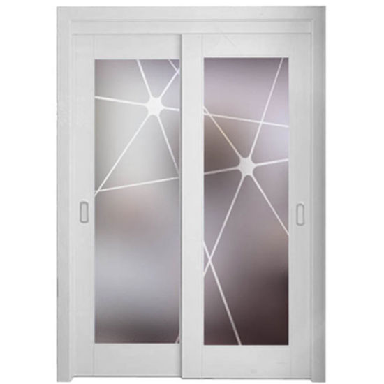 China Oppein Lacquer Wood Frame Tempered Glass Interior Door Mspy01