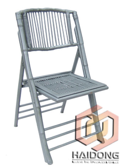 Silver Grey Folding Bamboo Garden Chair