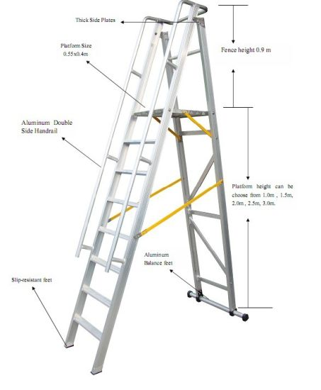 35m Aluminum Alloy Folding Platform And Step Ladder
