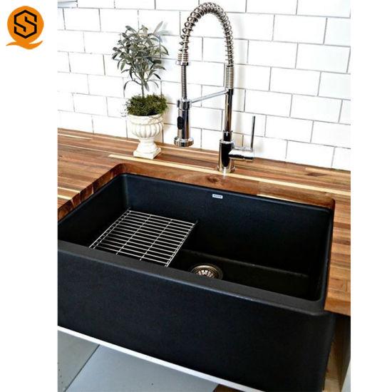 Modern Design Kitchen Sink, Solid Surface Kitchen Sink Black Kitchen Basin
