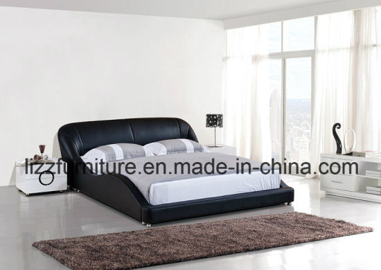 China Modern Italian Leather Double Wave Bed Design - China King ...