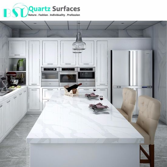 China Statuario Quartz Stone Kitchen Dining Table Top China Quartz