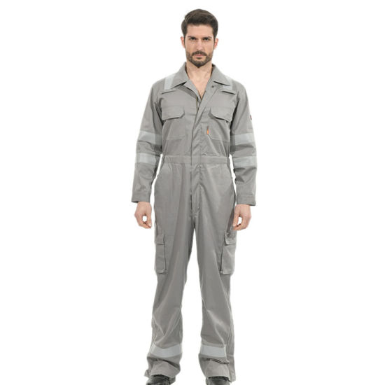 100%Cotton Gray Flame Retardant Coverall with Reflective Tape for Men