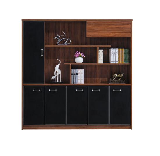 7 Doors Walnut Black Melamine Fashionable Sideboard Bookcase Bookshelf