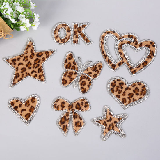 Stock Mix Color Lepoard Print Rhinestone Patches Crystal Beads Applique Iron on Patches Hotfix Motifs for Clothes Pants