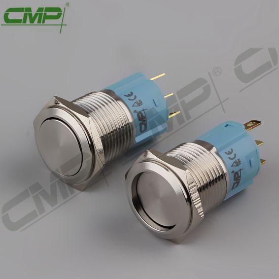 CMP 16mm Latching Vandal Resistant Flat Push Button Switch