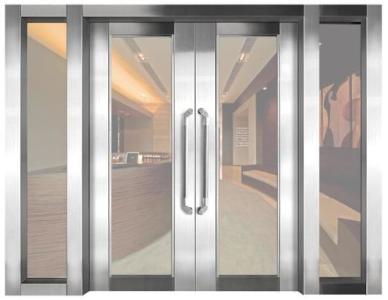 Fashion Design Fire Resistant Clear Glass Door For Lobby Entrence
