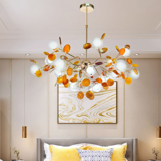 Small Bubble Ball Agate Chandelier for Living Room, Bedroom and Dining Room