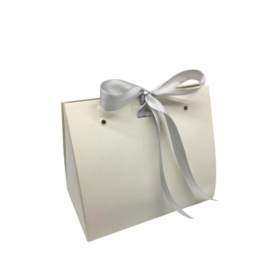 New Design Foldable Packaging Bag Elegant Ribbon Gift Paper Bag